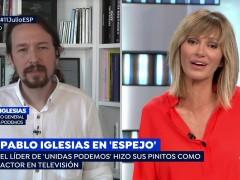 Pablo Iglesias siendo entrevistado por Susanna Griso en 'Espejo público'