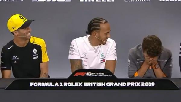 Daniel Ricciardo, Lewis Hamilton y Lando Norris