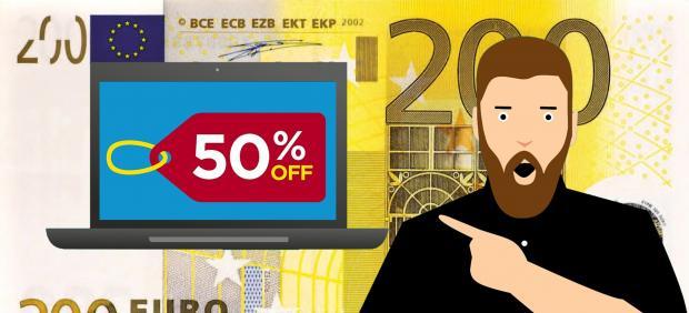 Montaje billete 200 euros, oferta, descuento, 50%