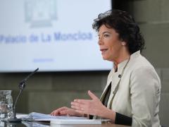 La ministra Portavoz Isabel Celaá, durante la rueda de prensa tras la reunión del Consejo de Ministros.