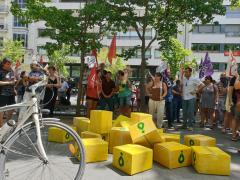 Concentración de 'riders' por la mejora de las condiciones laborales.