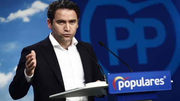 El secretario general del Partido Popular, Teodoro García Egea, en rueda de prensa en la sede nacional del partido tras la reunión del Comité de Dirección del PP.