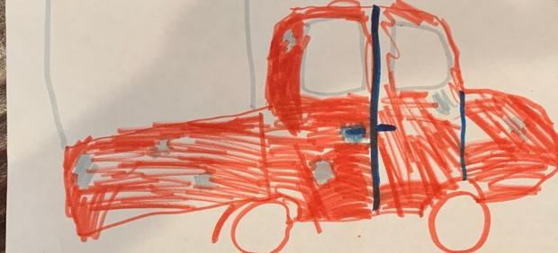 Dibujo hecho por una menor de 9 años testigo de un robo