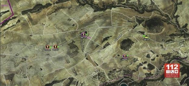 Imagen por satélite del lugar exacto del incendio