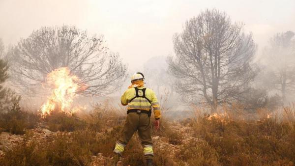 Continuen les labors d'extinció en l'incendi forestal de Beneixama (Alacant)