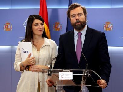 El portavoz de VOX en el Congreso Iván Espinosa de los Monteros y la secretaria general de VOX Macarena Olona.