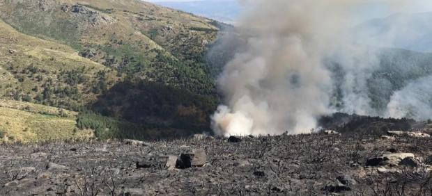 Reproducción del incendio de Sotillo de la Adrada (Ávila) en el Valle de Iruelas.