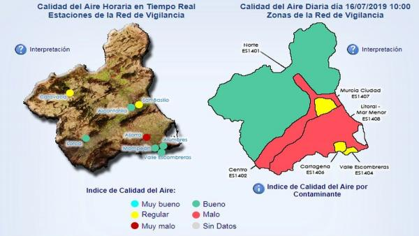 Mapa de calidad del aire en la Región de Murcia