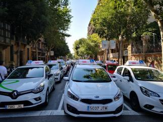 Coches de autoescuela aparcados frente a la Delegación del Gobierno de Catalunya.