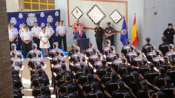 Presentación del Plan de Turismo Seguro en Málaga con la presentación de 205 agentes de la Policía Nacional en prácticas.