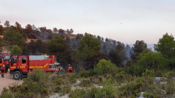 Efectivos de la UME trabajando en la zona del incendio de Beneixama (ALICANTE)