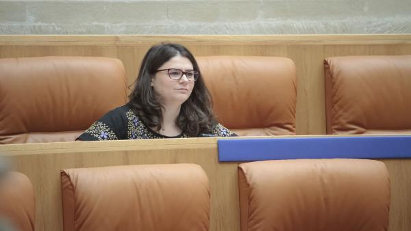 La diputada de Podemos en La Rioja, Raquel Romero, durante la segunda sesión del pleno de investidura para la elección de la Presidencia del Gobierno regional.