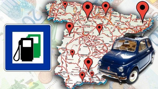Montaje mapa de las gasolineras más baratas en España