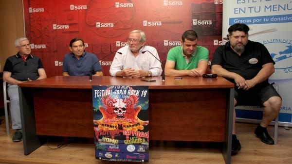 De izda a dcha, Domingo Rodríguez, Jesús Pastor, Jesús Bárez, Sergio Izquierdo y Ricardo Martínez durante la presentación de Soria Rock.
