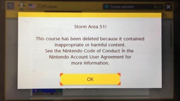 """Aviso de que el nivel 'Storm Area 51!' ha sido eliminado por """"contenido inapropiado o perjudicial"""""""