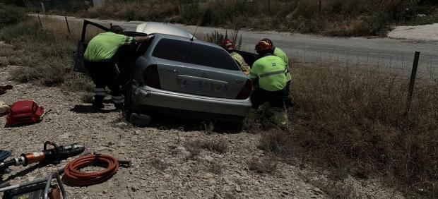Imagen del accidente facilitada por Voluntarios de Protección Civil de Mula