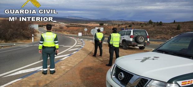 Efectivos de la Guadia Civil en Teruel.
