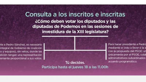 Podemos cierra la consulta para definir su voto en la investidura, cuyos resulta
