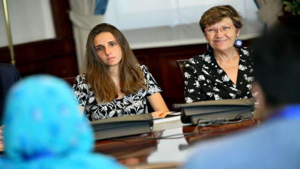 La diputada de Unidas Podemos en el Congreso por Baleares, Antònia Jover, en una reunión en el Congreso