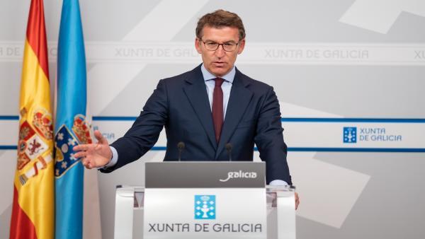 El presidente de la Xunta, Alberto Núñez Feijóo, en la rueda de prensa del Consello