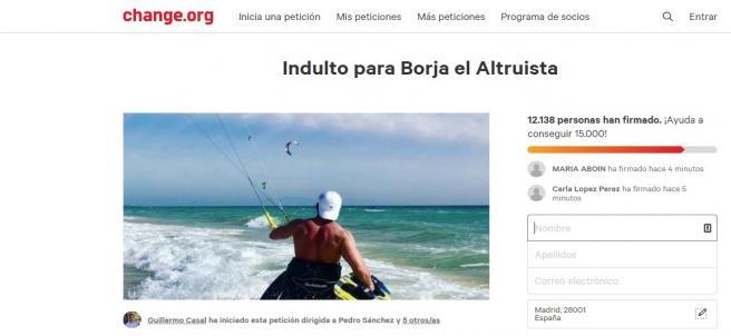 Imagen de la petición de indulto en la web Change.Org para Borja, condenado a dos años de prisión por homicidio por imprudencia grave