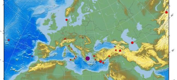 Localización del epicentro del terremoto, en Magula, Grecia.