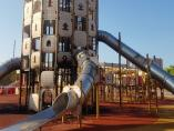 El castillo infantil del Parque de Sa Riera, tras sufrir un incendio
