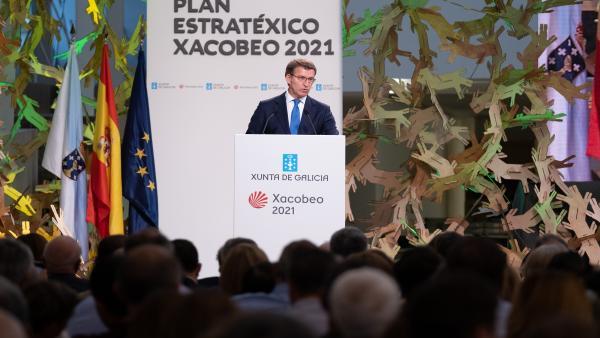 Alberto Núñez Feijóo durante su intervención en la presentación del Plan Estratégico del Xacobeo 2021.