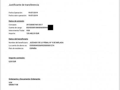 Detalle de la transferencia bancaria de Vox para el pago de poco más de 120.000 de los 180.000 euros de la indemnización