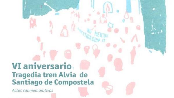 Cartel de los actos del aniversario del accidente del tren Alvia en Angrois (Santiago)