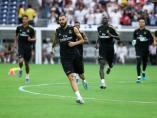 Karim Benzema en un entrenamiento del Real Madrid