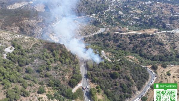 Incendio forestal en el paraje Sierra Blanca de Ojén.