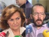 La vicepresidenta del Gobierno, Carmen Calvo, y el secretario de Acción de Gobierno y Acción Institucional de Podemos, Pablo Echenique