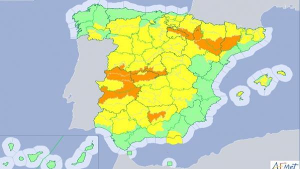 Mapa de las alertas por altas temperaturas de la Aemet.