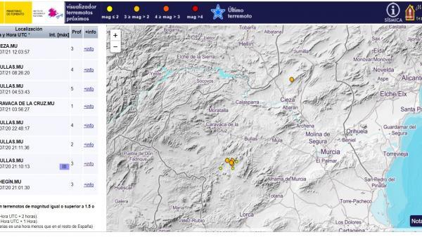 Lugares en los que se han registrado los terremotos