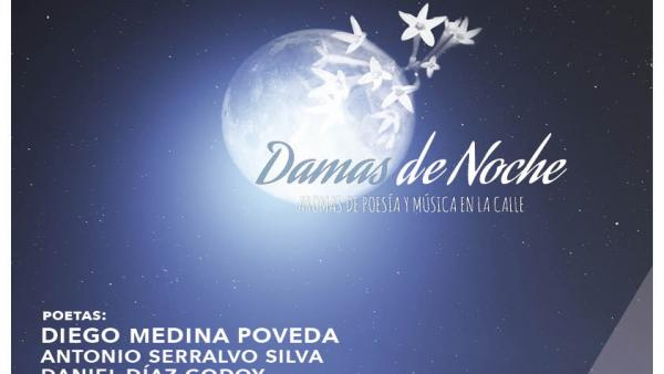 Cartel del ciclo poético musical 'Damas de Noche. Aromas de música y poesía en la calle' que organiza el Centro del 27 de la Diputación de Málaga