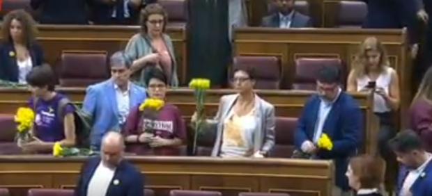 Los diputados de ERC ocupan sus escaños con flores amarillas en recuerdo a los presos