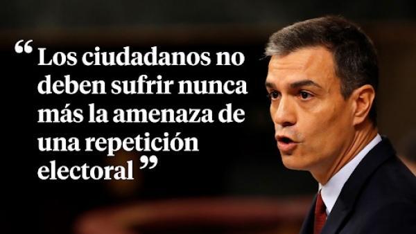 Pedro Sánchez, en su intervención durante el pleno de investidura.