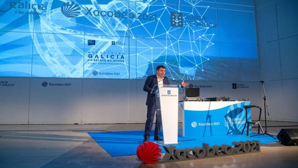 El conselleiro de Cultura durante la presentación de 'Galicia, un relato no mundo'.