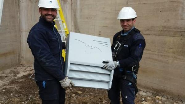 Técnicos de Endesa a punto de instalar una de las casas refugio para murciélagos.