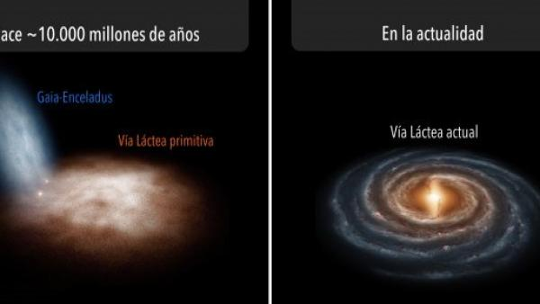 Recreación del nacimiento de la Vía Láctea