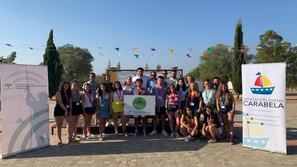 Los niños participantes en el Campo de Voluntariado del IAJ en Lepe.