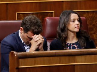 Albert Rivera e Inés Arrimadas en la sesión de investidura.