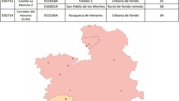 Mapa de valores de ozono superados en Castilla-La Mancha en 2018.
