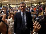 El presidente del Gobierno en funciones, Pedro Sánchez, tras la segunda jornada del debate de investidura