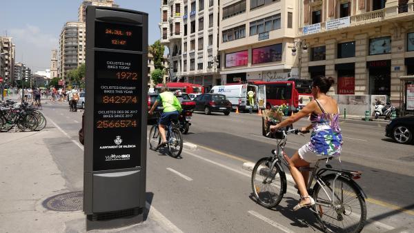 Nuevo contador de bicicletas en la calle Xàtiva