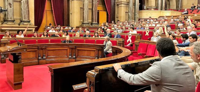 Pleno del Parlament con el presidente de la Generalitat, Quim Torra.