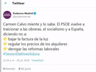 Tuit de Podemos Madrid.