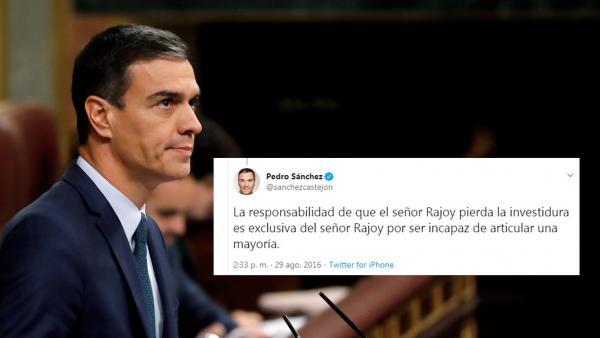 Pedro Sánchez frente a un tuit de 2016 sobre la investidura fallida de Rajoy.