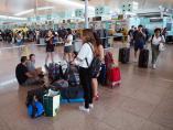 Colas en el Aeropuerto de El Prat, en Barcelona.